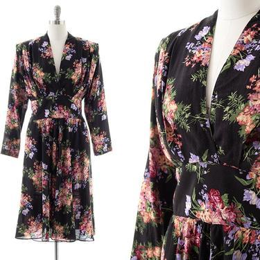 Vintage 1980s Dress   80s Dark Black Floral Printed Rayon Long Sleeve Full Skirt Midi Dress with Pockets (medium/large) by BirthdayLifeVintage