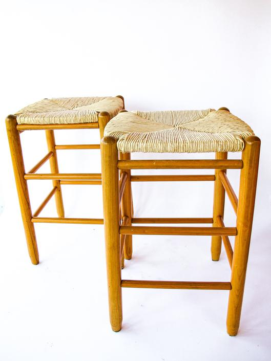 Pair of Vintage Danish Mid-Century Modern Style Rush Woven Stool with Solid Wood Legs (Sold as a pair) by PortlandRevibe