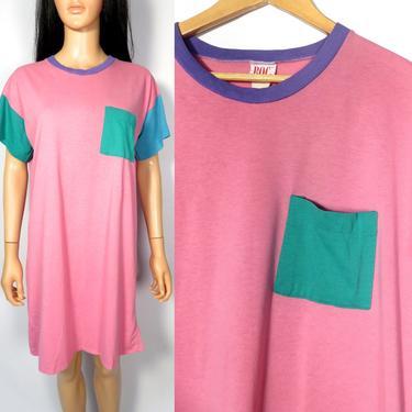 Vintage 80s Color Block Pocket Tshirt Dress Nightgown Size M by VelvetCastleVintage
