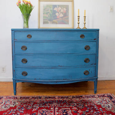 Refurbished Antique Dresser, Vintage Dresser, Blue Dresser, Changing Table, Distressed Shabby chic Dresser, Free NYC Delivery by AntiqueBoutiqueNYC