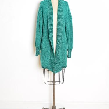 vintage 80s sweater coat green boucle cardigan duster chunky warm wrap jumper clothing by huncamuncavintage