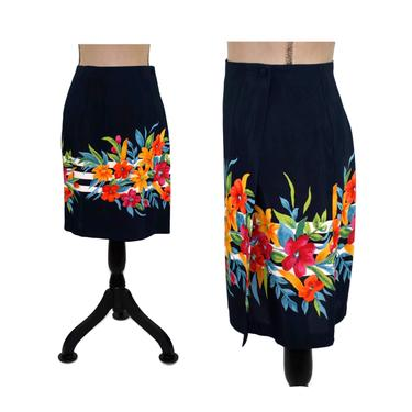 Plus Size Wrap Skirt XL, Rayon Midi Skirt Size 16, Navy Blue with Tropical Floral Print for Spring & Summer, 90s Vintage Clothing Women by MagpieandOtis