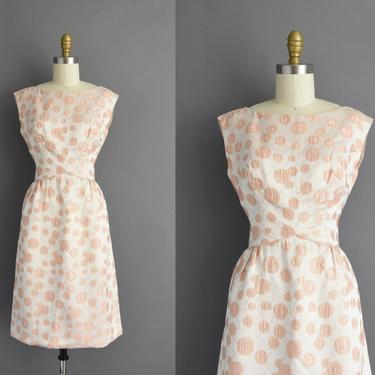 1950s vintage dress | Gorgeous Sparkly Pink & Gold Silk Satin Cocktail Party Bridesmaid Wedding Dress | Small | 50s dress by simplicityisbliss