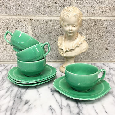 Vintage Teacup Set Retro 1930s Homer Laughlin + Riviera Green + Set of 4 + Cups and Saucer + Ceramic + Pottery + Drinkware + Kitchen Decor by RetrospectVintage215
