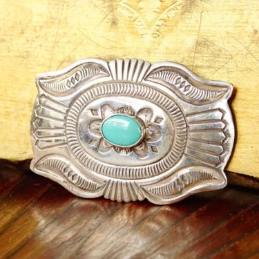"""Vintage Signed Navajo Martinez Sterling Silver Turquoise Belt Buckle, Hammered Silver Concho Buckle, Native American Old Pawn, 3 1/2"""" W by shopGoodsVintage"""