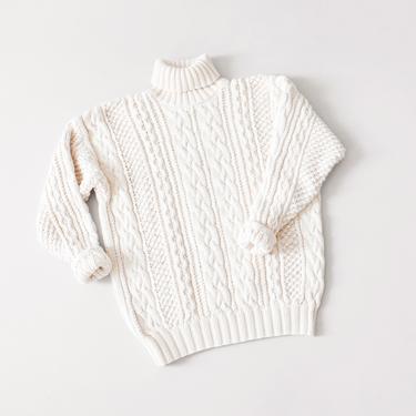 vintage cable knit cotton turtleneck sweater, 90s Gap, size S / M by ImprovGoods