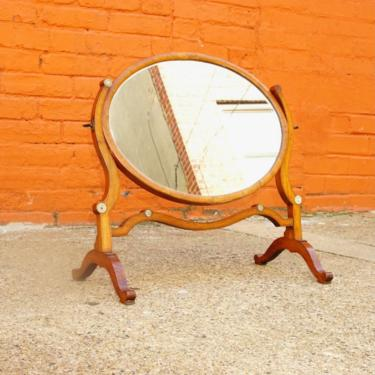 Antique Hepplewhite Style Mahogany Dressing Table Cheval Mirror W/ Accent Ivory Details, Ornate Oval Tilt Mirror, Boudoir Vanity Mirror by shopGoodsVintage