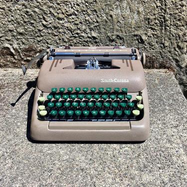 Pristine 1950 Smith Corona Silent Portable Typewriter w Case, Manual, Brush by Deco2Go