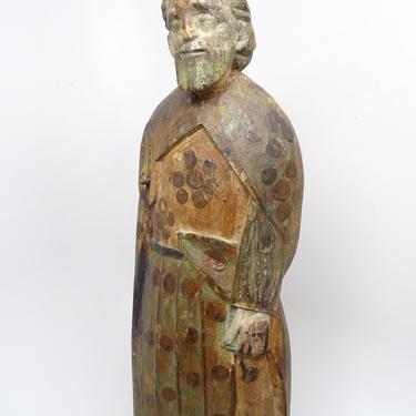 1800's Polychrome Santos Saint Statue holding Bible,  Antique Hand Carved, Vintage Religious Church Folk Art Decor by exploremag