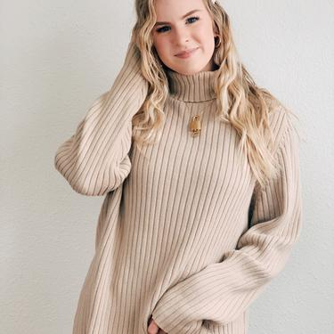 Vintage Tan Ribbed Turtleneck Sweater by MadroneClothing