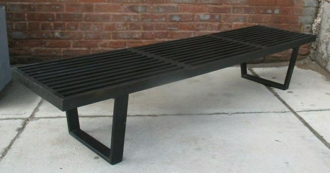 GEORGE NELSON HERMAN MILLER 6 FT EBONY SLAT PLATFORM BENCH COFFEE TABLE black