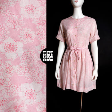 So Sweet Vintage 60s Pastel Pink Floral Fit and Flare Soft Cotton Dress by RETMOD