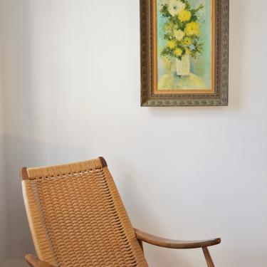 """Vintage Framed Mid-Century Flower Painting on Canvas """"White Vase""""  by Emily Whaley by SourcedModern"""
