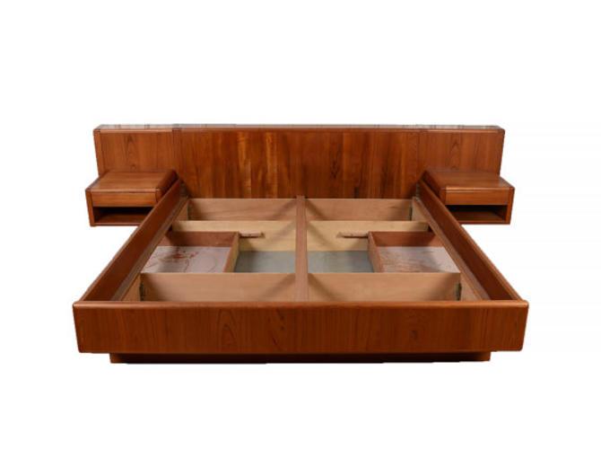 Danish Modern Teak King Platform Bed with Floating ...