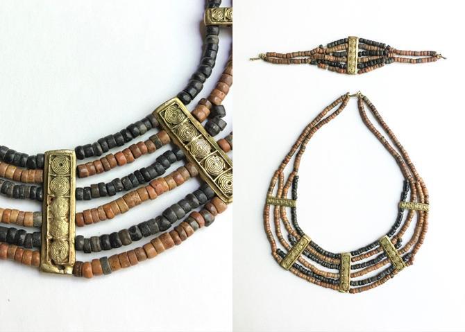 70s African Beaded Necklace + Bracelet Set With Large Brass Beads by hemlockvintage
