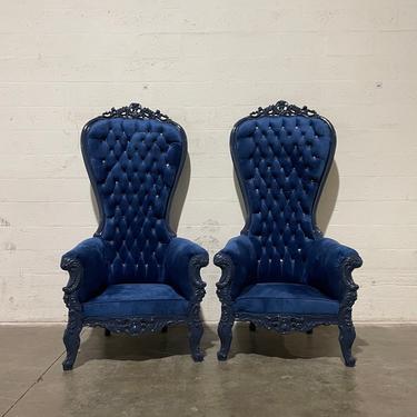 Blue Throne Chair Blue Velvet Chair French Tufted Chair Throne Tufted Velvet Chair Tufted Blue Frame Throne Chair Rococo Interior Design by SittinPrettyByMyleen