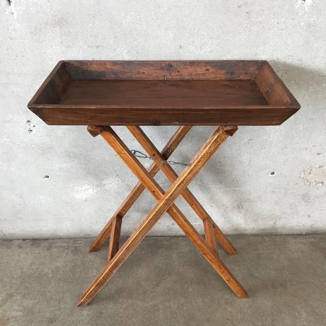 Rustic Wood Folding Tray
