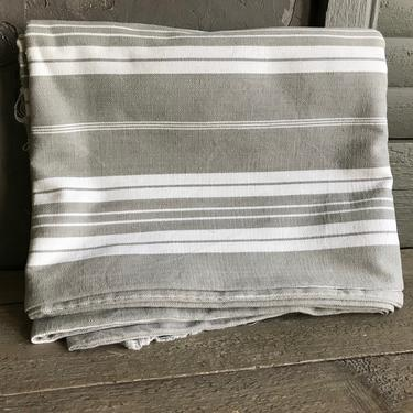 French Linen Ticking Fabric, Gray White Striped, Sewing Upholstery, Pillow Projects, French Textiles by JansVintageStuff