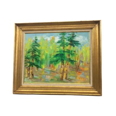 Vintage Mid Century Modern Original Painting Green Forest Blue Sky Multicolor Spot Scenic Trees by BigWhaleConsignment