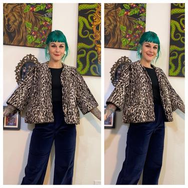 Vintage 1960's Faux Leopard Print Cropped Coat by SurrealistVintage