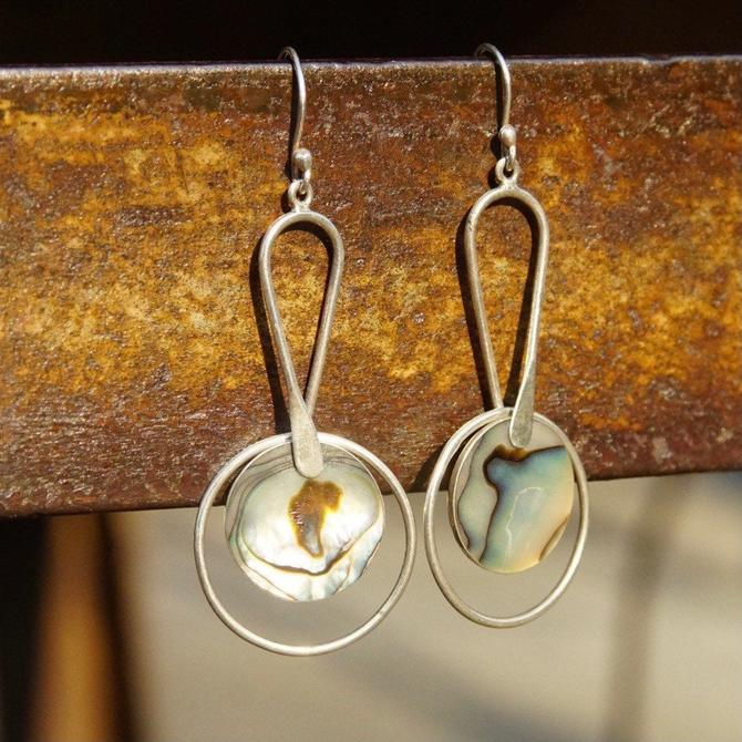 """Vintage Modernist Sterling Silver & Abalone Dangle Earrings, Abstract Silver Earrings, Iridescent Shell Inlay, ATI925 Mexico, 2 5/8"""" Long by shopGoodsVintage"""