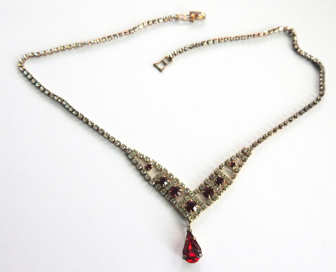 W Lind Red Rhinestone Necklace by LegendaryBeast