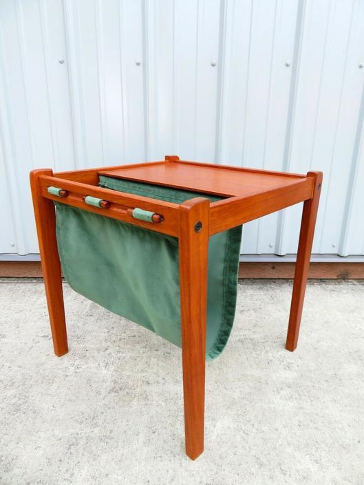 Vtg DANISH MODERN TEAK MAGAZINE RACK SIDE TABLE Mid Century Chair Sofa Art RETRO