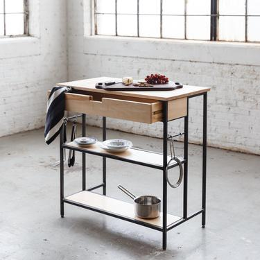 Maple Kitchen Island - Solid Maple and Steel - Free Shipping by HerbsFurniture