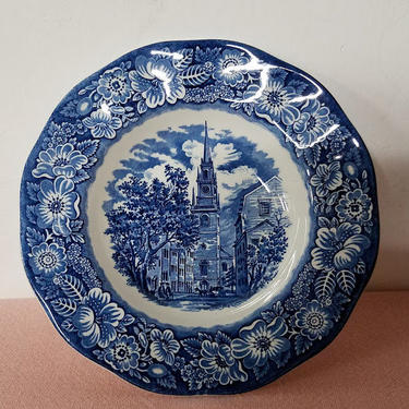 Vintage Liberty Blue Staffordshire England Historic Colonial Scenes Rimmed Soup Bowl Old North Church by OverTheYearsFinds