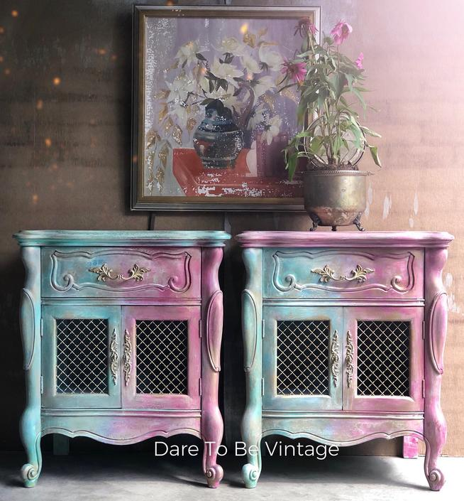 Vintage Nightstands Side Tables Painted Bohemian Shabby Chic