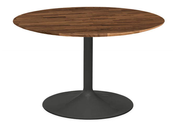 ROOM AND BOARD ARIA ROUND DINING TABLE WITH WALNUT BUTCHER BLOCK TOP AND GRAPHITE BASE