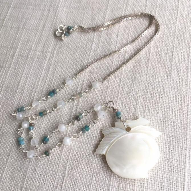 The Orchard Keeper [assemblage necklace: mother of pearl, moonstone, apatite, sterling silver] by nonasuch