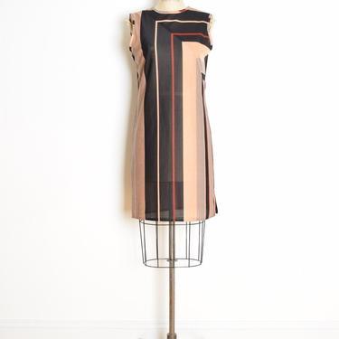 vintage 70s dress neutral mod stripe geometric color block print futuristic M semi sheer space age dress clothing by huncamuncavintage