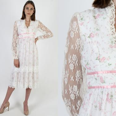 70s White Pink Bouquet Dress Calico Tiny Floral Dress Waist Tie Sash Sheer Lace Long Sleeves Empire Corset Bodice Midi Dress by americanarchive