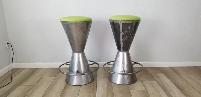 Vintage Handmade Drum Shape Steel Bar Stools A Pair . by MIAMIVINTAGEDECOR