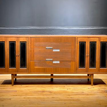 Refinished Mid Century Modern American of Martinsville Nine Drawer Walnut Extra Long Lowboy Dresser Credenza Sideboard by Merton Gershun MCM by MidMod414
