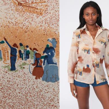 Boho Top 70s Shirt Hippie Blouse Sheer Novelty Print Bohemian PEOPLE Print Button Up 1970s Vintage Long Sleeve Bohemian Medium by ShopExile