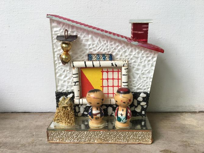 Vintage Mini Kokeshi Doll House, Wooden House With Small Kokeshi Dolls, Made In Japan by luckduck