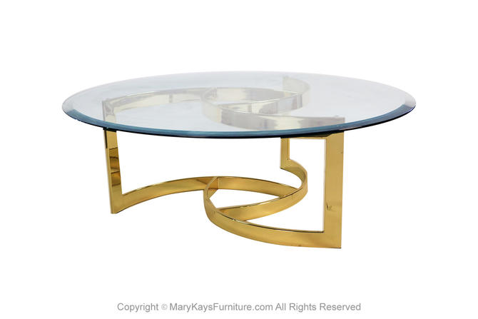 Mid Century Brass Swirl Base Round Glass Top Coffee Table by Marykaysfurniture