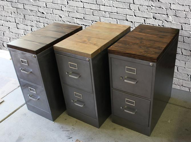 Refinished 2 drawer letter size Metal Filing Cabinet w/ Wood Top / industrial / metal filing cabinet / rustic office furniture by TheRusticForest