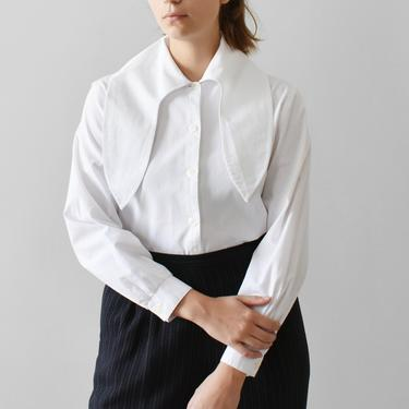 vintage handkerchief blouse / white button down shirt with tie collar / S by ImprovGoods