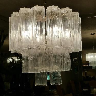 Vintage Murano Tronchi Glass Chandelier by ModernPicks