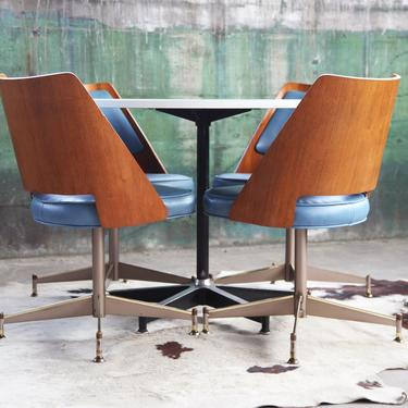 RARE 1960s Iconic Mid Century Herman Miller Star Base Table and 4 bentwood chairs Set, Teak Bent Wood Chair, Stunning Chrome base McM Danish by CatchMyDriftVintage