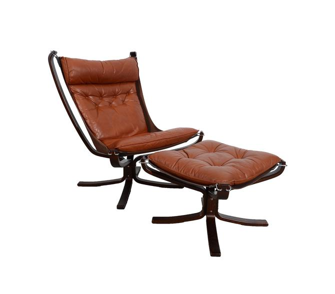Leather Falcon Chair and Ottoman made by Vatne Mobler designed by Sigurd Ressell Norway Danish Modern by HearthsideHome