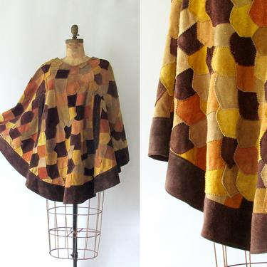 QUEEN OF CAPES Vintage 70s Suede Cape | 1970s Patchwork Brown Tan Leather Poncho | 60s 1960s, Hippie Chic, Boho Bohemian | Size Medium Large by lovestreetsf