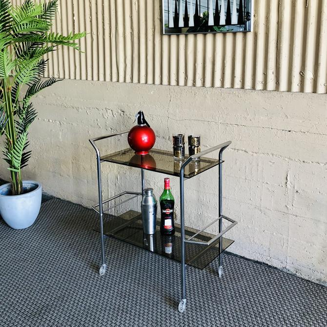 Mid Century Modern Chrome & Smoked Glass Bar Cart