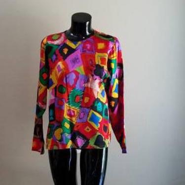 Vintage 80s Emmanuel Ungaro Clubs Diamonds Spades Hearts Neon Print Silk Shirt Blouse M by FlashbackATX