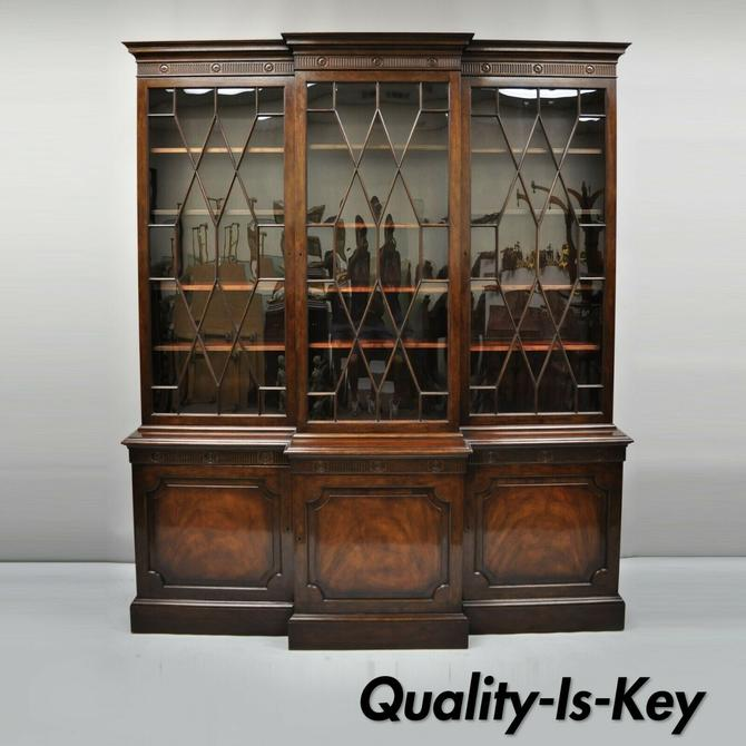 Baker English Regency Style Mahogany Breakfront China Cabinet Bookcase Cupboard