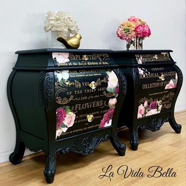 Pair of Hand Painted Bombe Chests, Side Tables, End Tables, Nightstands, Chests, Flowers. by LaVidaBellaDesign