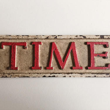 Iconic TIME tabletop sculpture sign IRON paperweight vintage pop irony art rare design Paul Rand by CaribeCasualShop
